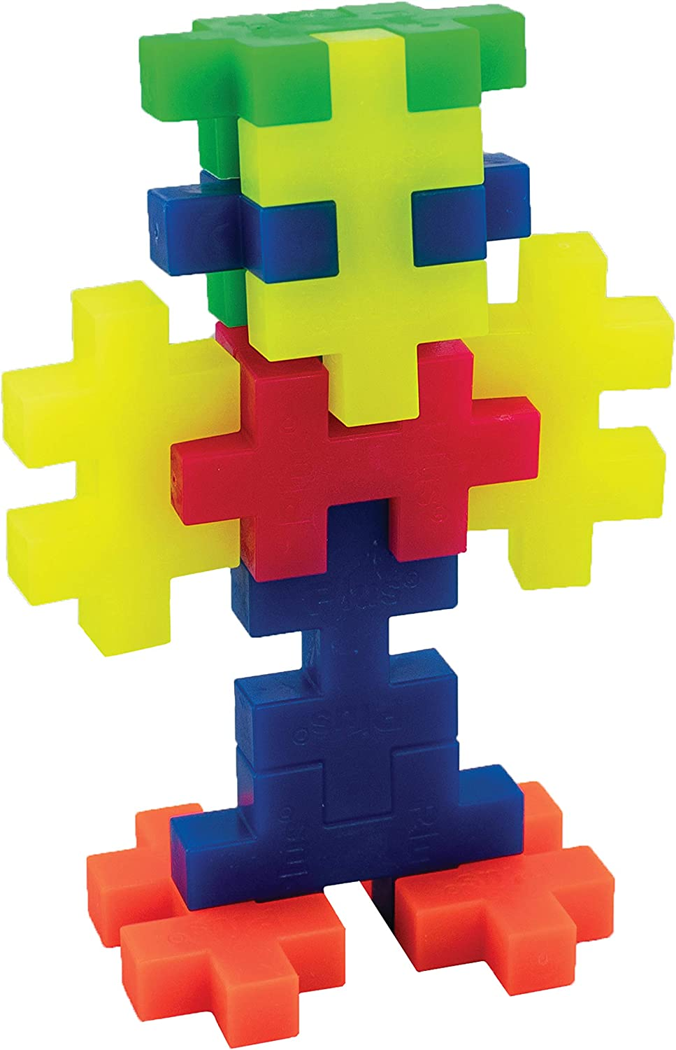 Open Play Tube Construction Building STEM Plus-Plus Big Interlocking Large Puzzle Blocks for Toddlers and Preschool 15 Piece Neon Color Mix