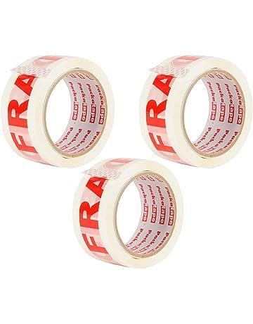 Packatape 3 Rollos de Cinta de Embalaje 48MMx 66M fragile para paquetes y cajas