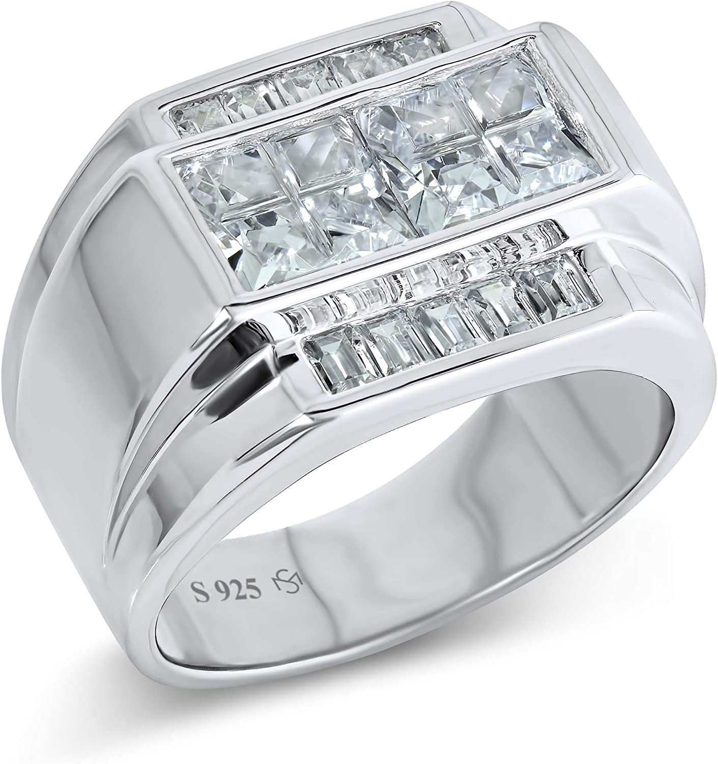 [2-5 Days Delivery] Men's Sterling Silver .925 Ring with White Invisible and Channel Set Cubic Zirconia (CZ) Stones, Platinum Plated. Flashy Eye Catching Ring. Elegant Sterling Silver Jewelry Encrusted with CZs For Men.