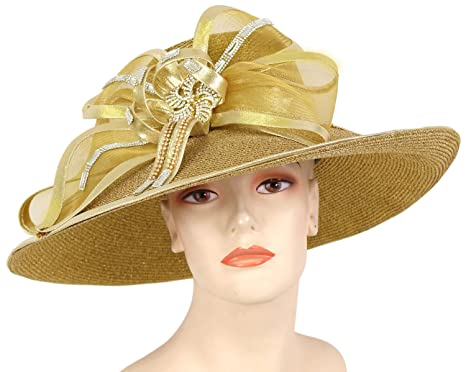 18faab9a Ms Divine Metallic Straw Women's Wide Brim Church Derby Hats Dressy Formal  Hats #9305 (Gold) at Amazon Women's Clothing store: