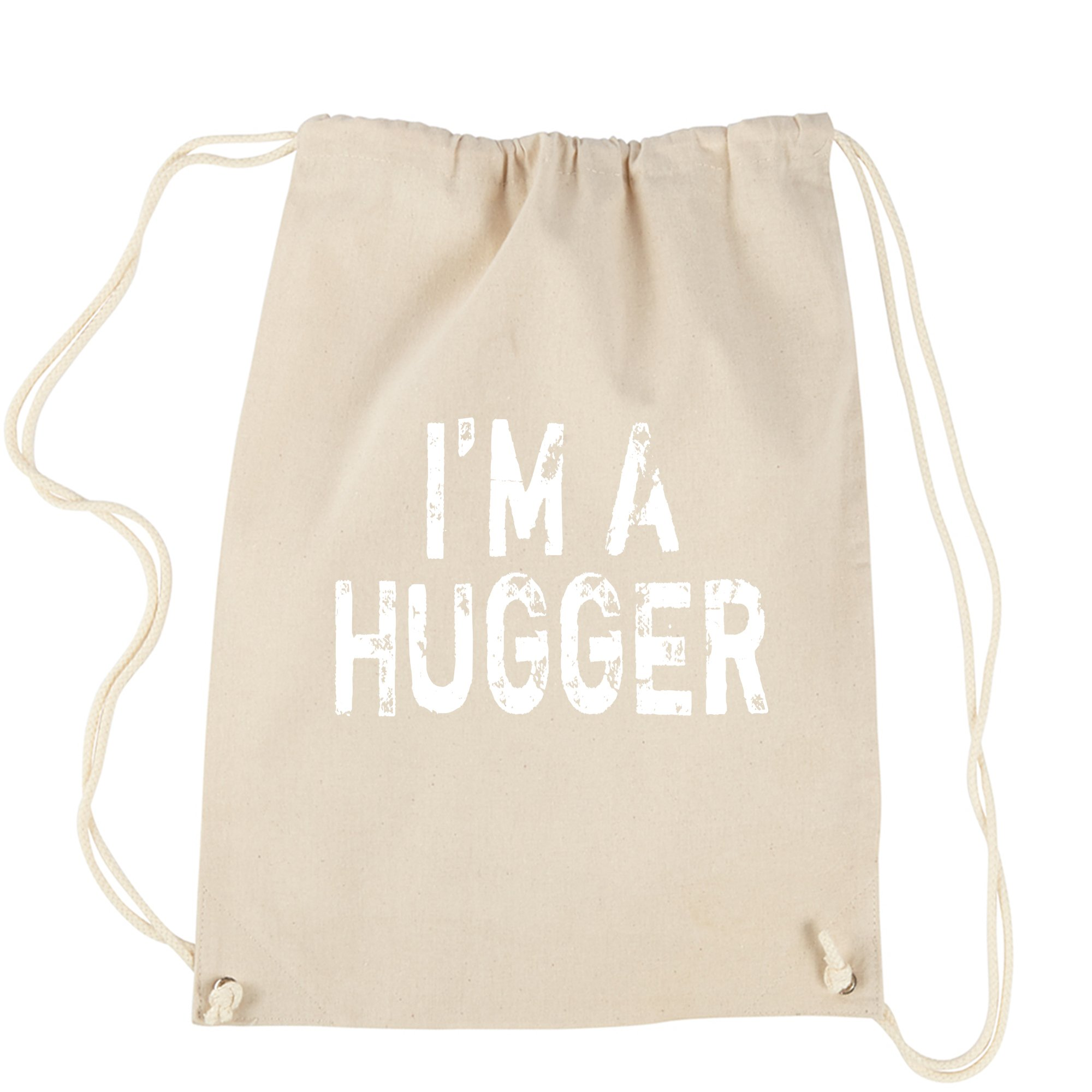 Backpack I'm A Hugger Wrestling Natural Drawstring Backpack