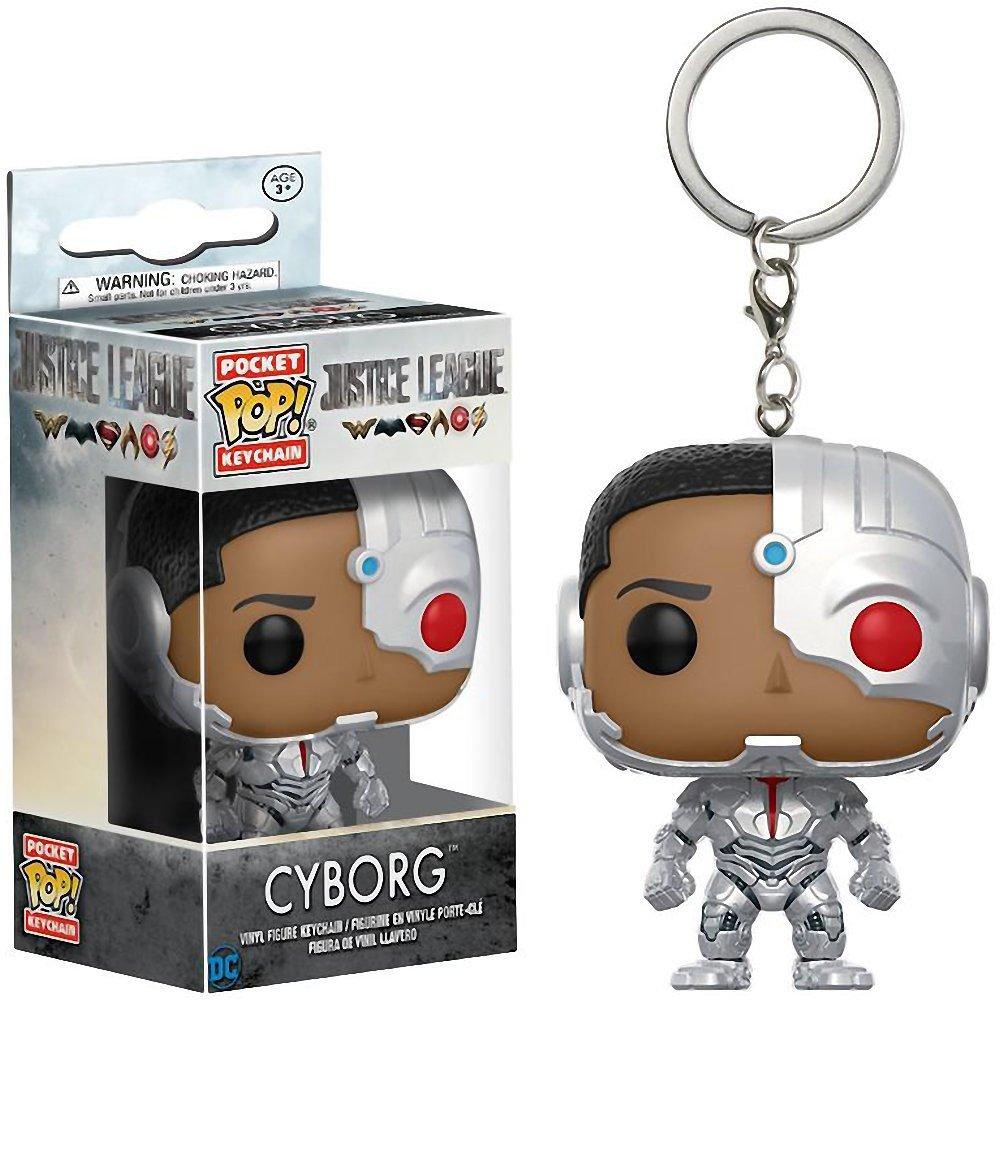 Funko POP! Pocket Keychain: Justice League Batman, Aquaman, Flash, and Cyborg Mini Toy Action Figure - 4 Pack BUNDLE