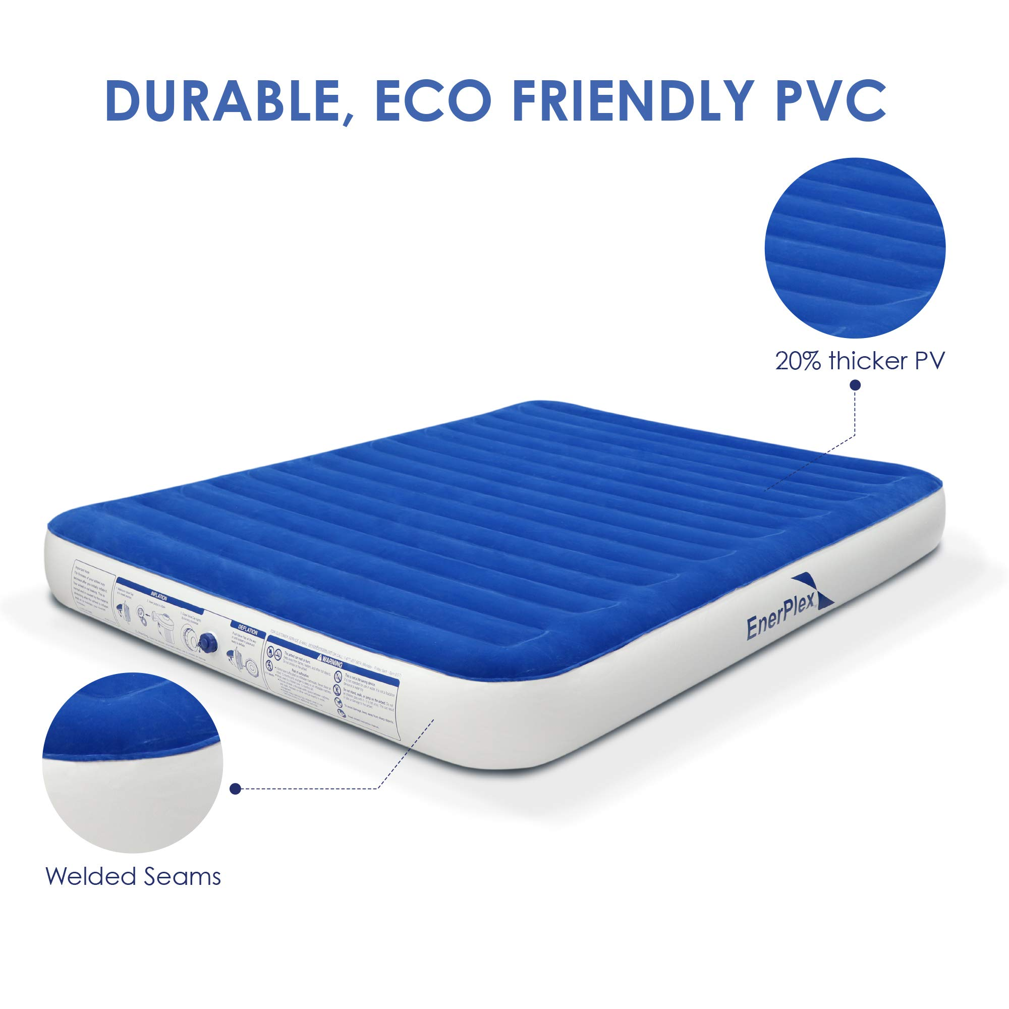 EnerPlex 2019 Camping Luxury Queen Size Air Mattress Camping Queen Airbed with High Speed Wireless Pump Single High Inflatable Blow Up Bed for Home Camping Travel 2-Year Warranty by EnerPlex (Image #3)