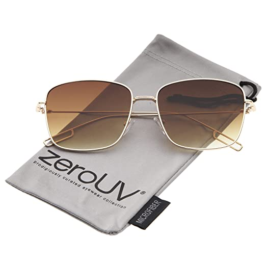 77c1b59ab4 Minimal Wire Metal Frame Hook Temple Flat Lens Square Sunglasses 58mm  (Gold Amber)