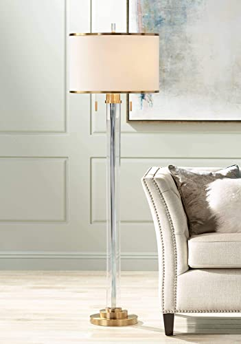 Cadence Modern Floor Lamp Satin Brass Crystal Glass Column Linen Drum Shade