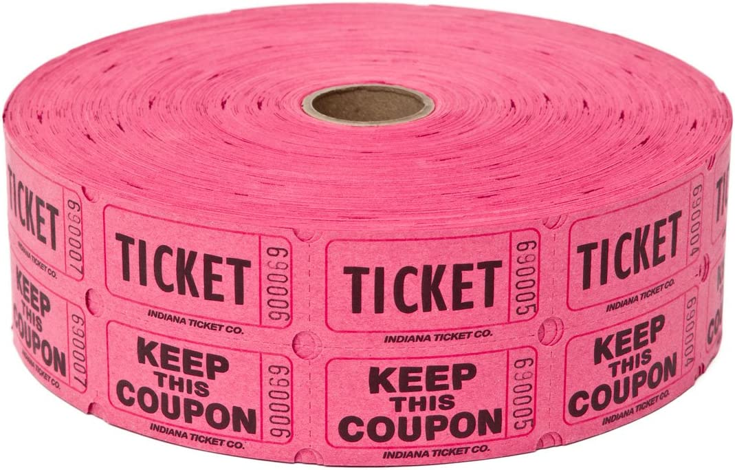 Two Rolls of Two-part Hot Pink Double Roll Raffle Tickets Totaling 4,000 Tickets 2