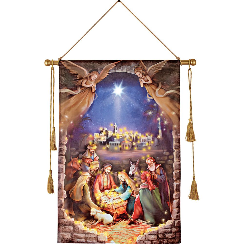 Collections Etc Lighted Nativity Scene Hanging Canvas Wall Art, Inspirational Christmas Decorations