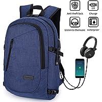 Mochila para portátil, mochila DOXUNGO antirrobo unisex con bloqueo Mochila portátil delgada con puerto de carga USB y puerto para audífonos para mujeres y hombres, para portátil y tableta Ipad de hasta 15.6 pulgadas (Azul)