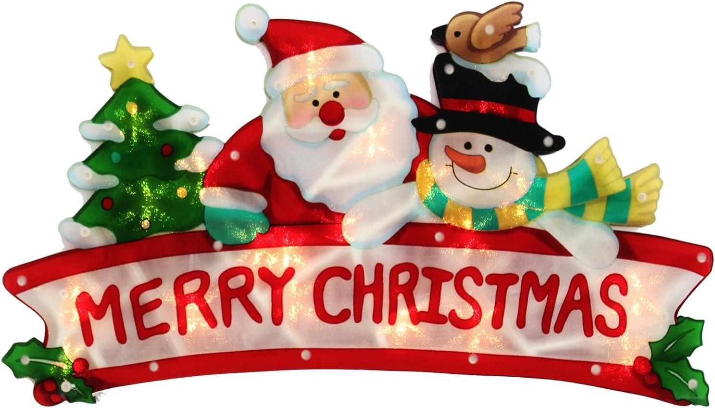 Pre-Lit 45 cm  Double Sided Window Silhouette Christmas Decoration Light Santa
