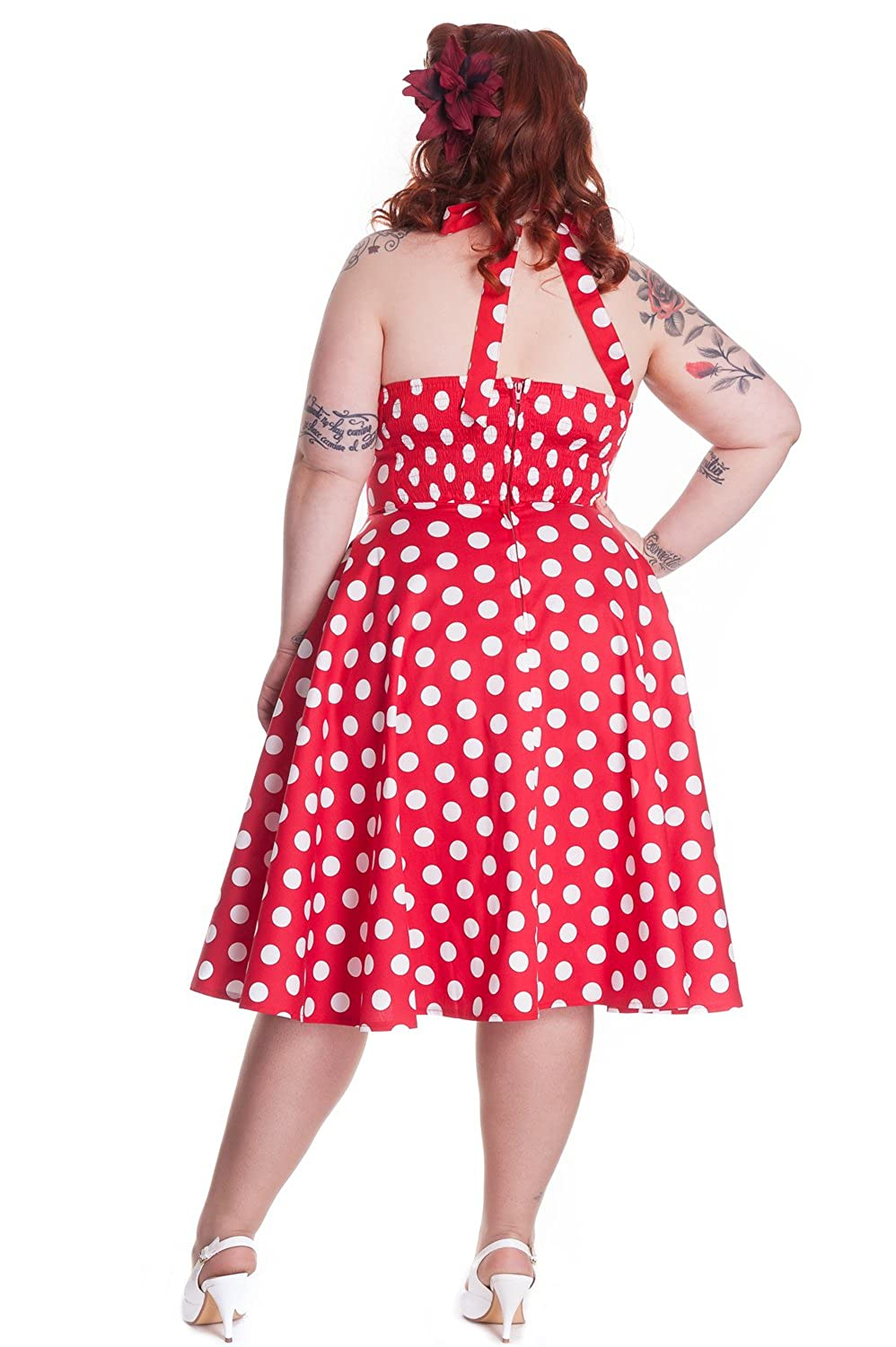 39ed28850b0 Hell Bunny Plus Size Rockabilly Red and White Polka Dot Minnie Halter Dress  (XXL (2XL)) at Amazon Women s Clothing store