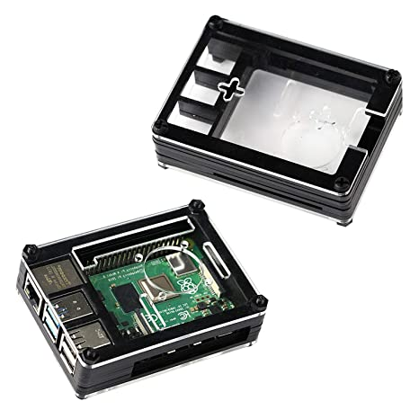 For Raspberry Pi 4 Model B Acrylic Case with Cooling Fan, Heatsinks (Black and Clear)