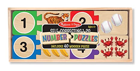 Amazon.com: Melissa & Doug Self-Correcting Wooden Number Puzzles ...