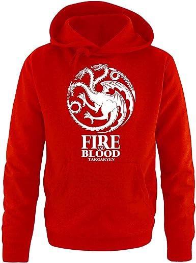 De la s/érie Game of Thrones Coloris/ Motif/: Fire and blood Tailles disponibles/: S et XXL Pull /à capuche de Comedy Shirts Pour homme