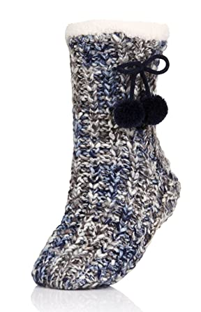 Loungeable Boutique 63507 Womens Chunky Knit Slipper Socks Navy