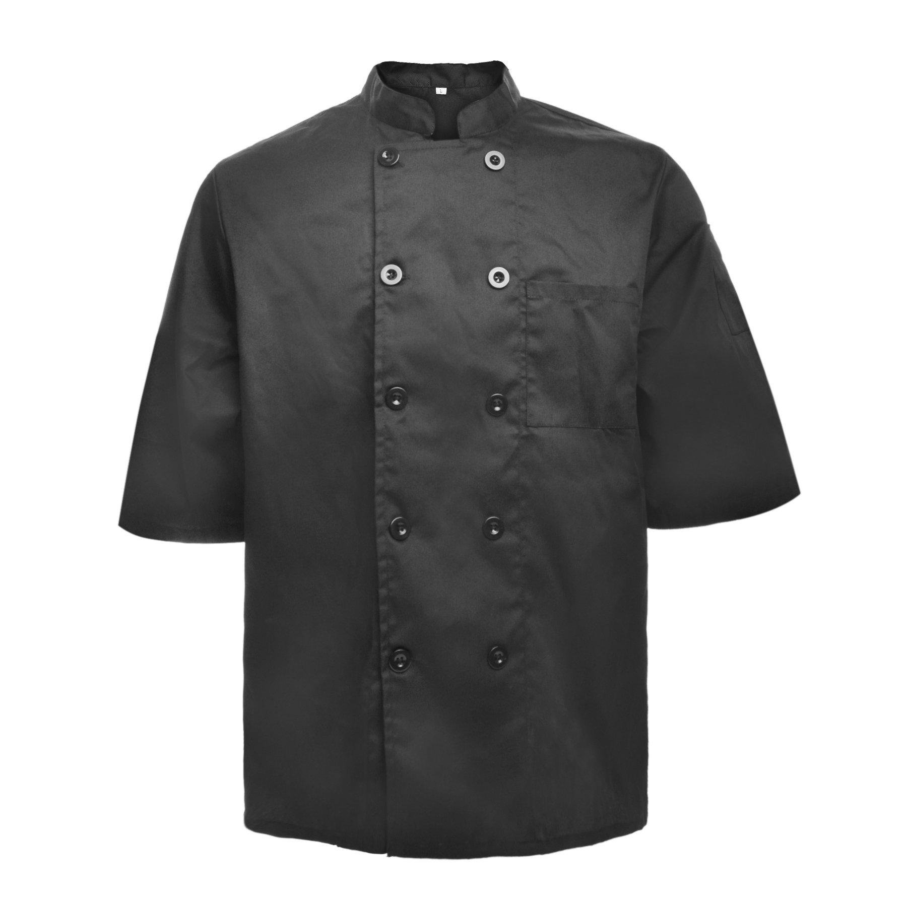 TopTie Unisex Short Sleeve Chef Coat Jacket, Black