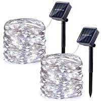 Qedertek Solar Christmas Lights, 2 Pack 100 LED Solar Fairy Lights with 8 Modes, 33ft/10m Waterproof Fairy Copper Lights for Garden, Patio, Wedding, Party, Christmas Tree Decorations. (Cool White)