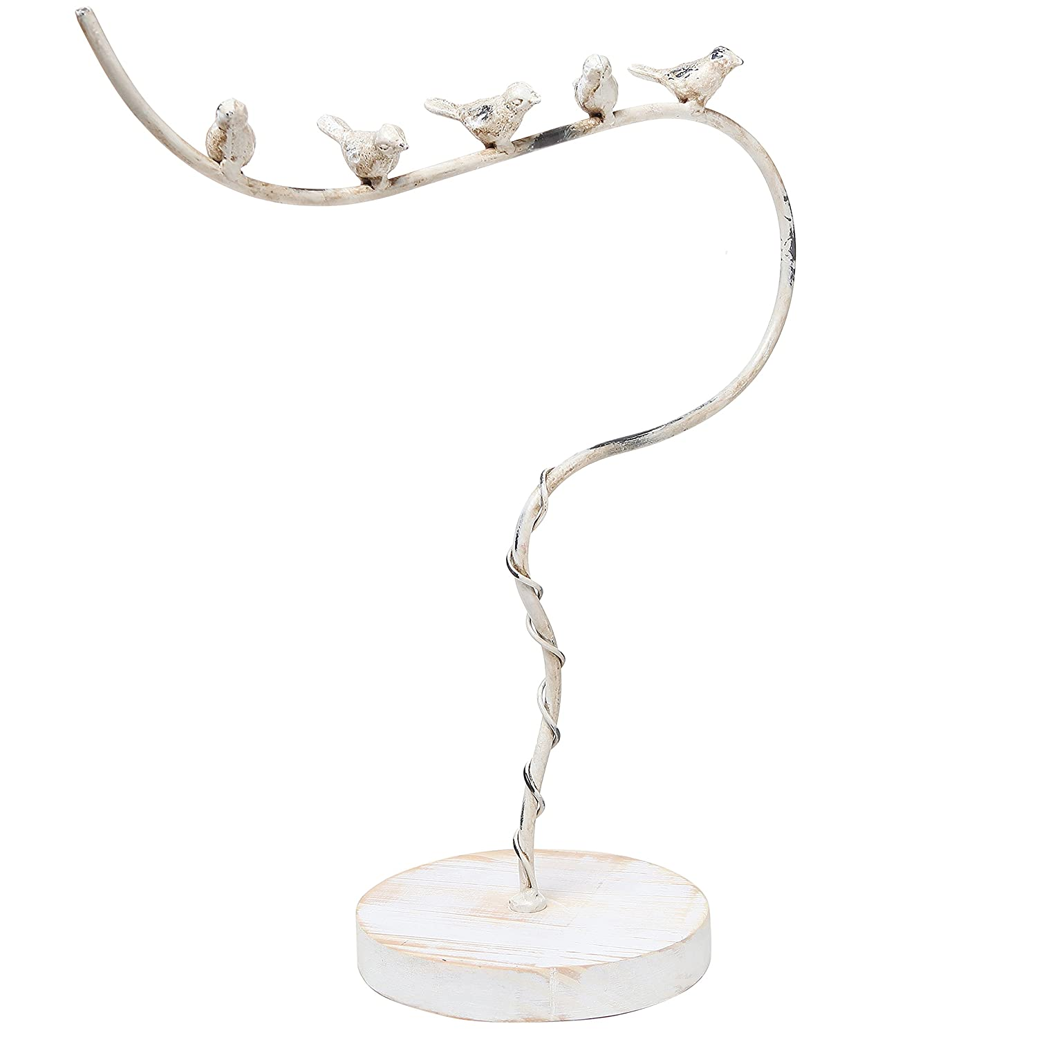 Vintage Style White Washed Metal Bird Design Necklace Hanger Tree