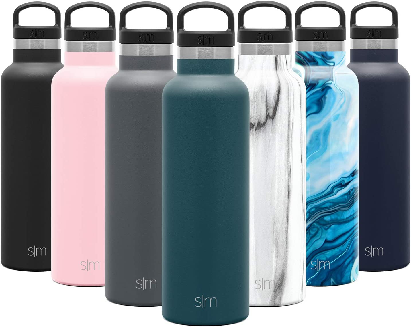 Simple Modern 20oz Ascent Water Bottle - Hydro Vacuum Insulated Tumbler Flask w/Handle Lid - Blue Double Wall Stainless Steel Reusable - Leakproof -Riptide