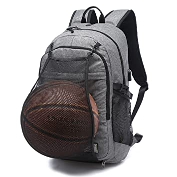 f1e1c46d4cf6 KEYNEW Basketball Bag Football Travel Laptop Backpack with with Card  Organizer Shoulder Bag,Luggage Strap,USB Charging Port fits 15.6 inch  Laptop ...