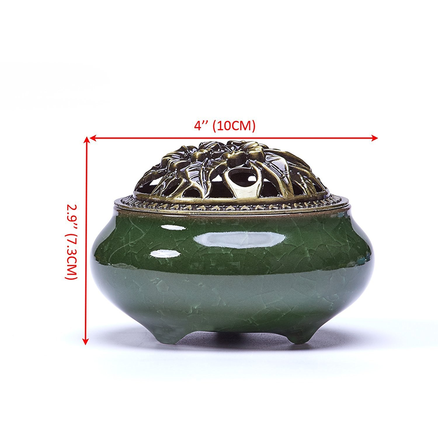 Ceramic Incense Burner & Porcelain Incense Holder for Cone, Coil and Stick Incense,Ice-Patterned Handmade Censer with Brass Calabash by Corcio (Green)