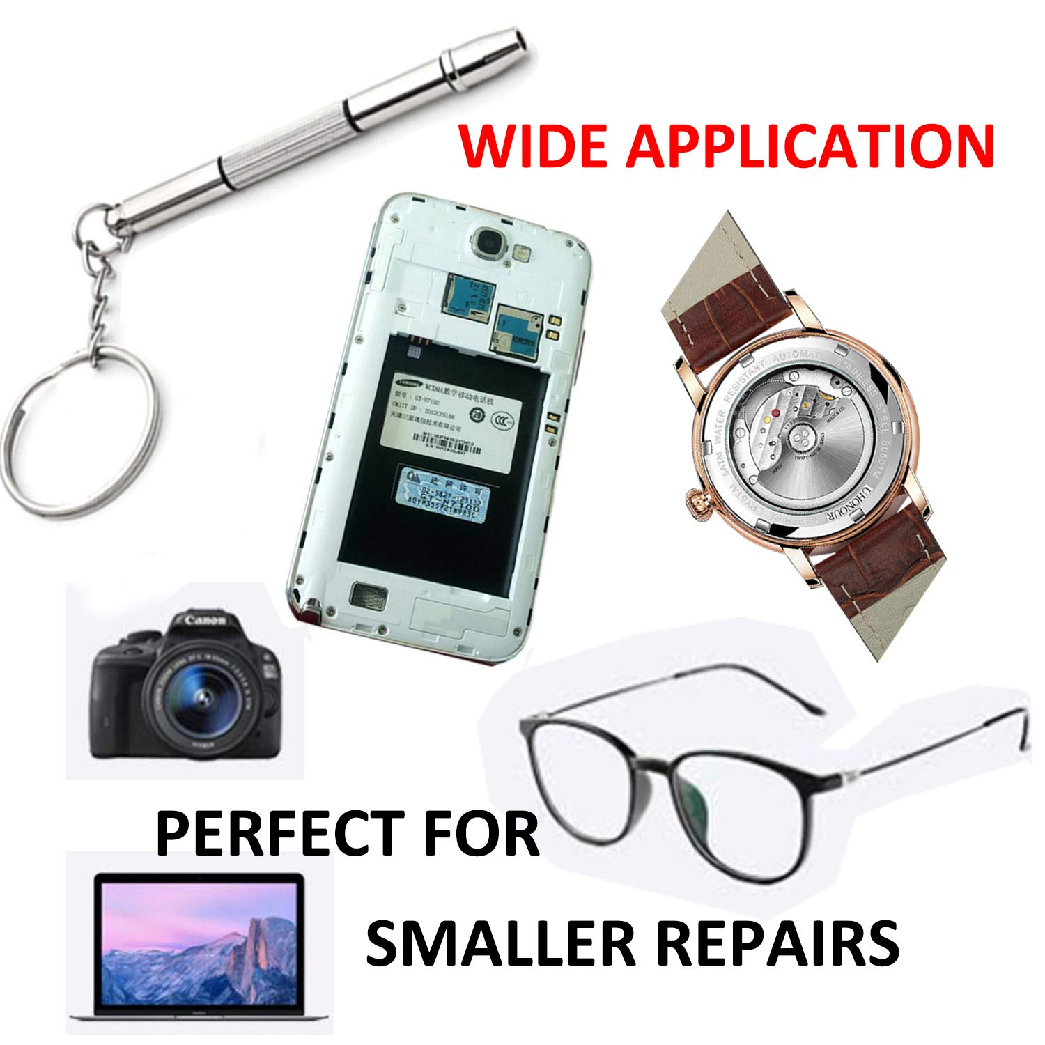 Mini 4 in 1 Screwdriver Keychain, Hotetey 5 Pack Stainless Steel Precision Screwdriver Keyring Repair Tool for Eyeglass Sunglasses Watch Phone Electronics