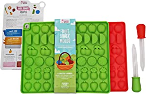 DIY Assorted Fruit Snack Molds by Mister Gummy | Premium Silicone | Fruit Snacks, Chocolate, Ice Cubes, Candy | 2 Fruit Molds, 2 Liquid Droppers, Recipe Card, and Reusable Zip Lock Bag (DOUBLE PACK)