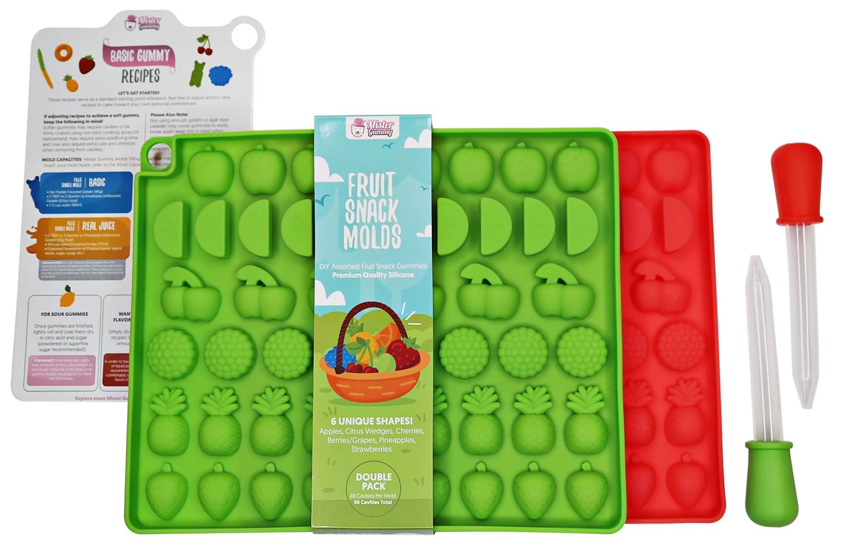 DIY Assorted Fruit Snack Molds by Mister Gummy | Premium BPA-Free LFGB/FDA Silicone | (Make Gummies, Chocolate, Ice Cubes, Candy) - 2 Fruit Molds, 2 Liquid Droppers, Recipe Card, Reusable ZIP-Lock Bag