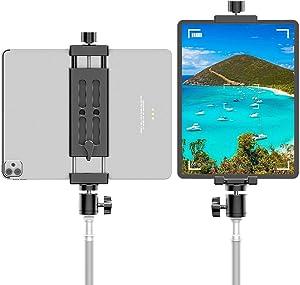 "iPad Tripod Mount Adapter with Ball Head, Fully Metal iPad Holder for Tripod, Phone Tablet Mount Stand Compatible with iPad Pro 12.9, iPad Air 2 3 4, iPad Mini, Galaxy Tab, Surface Pro, iPhone (4-15"")"