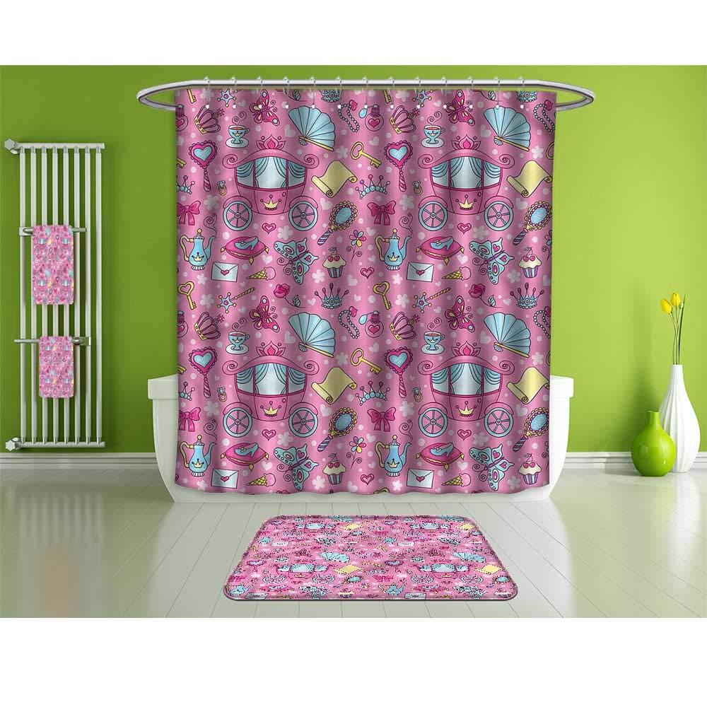 Bathroom Set,Teen Girls,Carriage Teapots Cups,Set Includes 1 Shower Curtain, 12 Shower Hooks, 4 Bath Towels, 2 Hand Towels, and 1 Bath Mat.