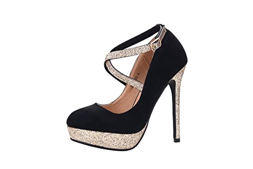 09490c555 Mila Lady ELVA26 Women Fashion Embellished Sparkles Party Pumps High Heel  Stilettos Sexy with Slim Strap Dress Shoes