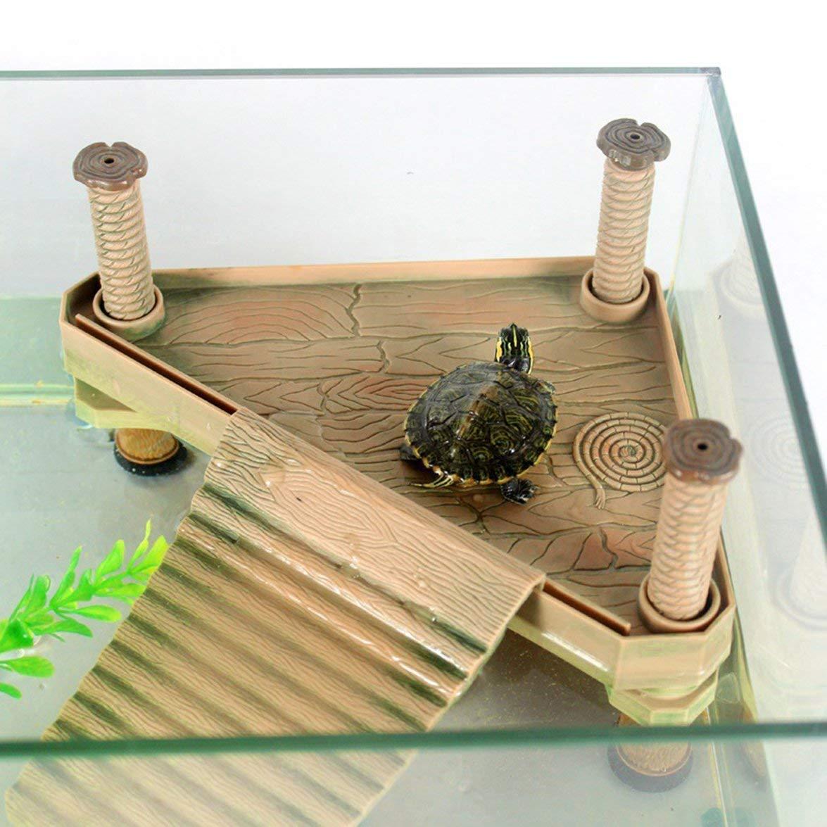 Kongqiabona /Écologique en Plastique Bo/îte Dock Animal Naturel Tortue Pier Dormir Plate-Forme Dock pour Aquarium Fish Tank D/écor