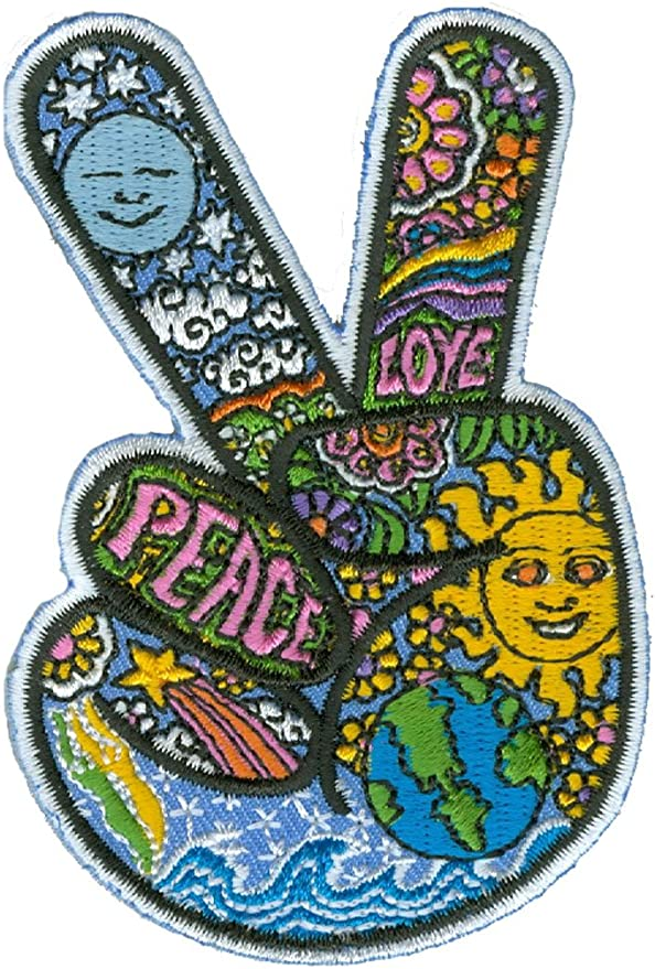 60s , 70s Hippie Clothes for Men Dan Morris - Celestial Peace Hand Fingers - Embroidered PatchBlue Yellow and Green2.5 x 3.5