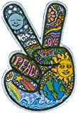 """Dan Morris - Celestial Peace Hand Fingers - Embroidered Patch,Blue, Yellow and Green,2.5"""" x 3.5"""""""