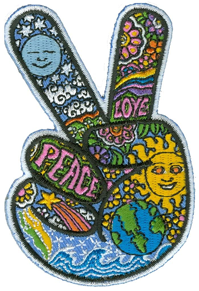 "Dan Morris - Celestial Peace Hand Fingers - Embroidered Patch,Blue, Yellow and Green,2.5"" x 3.5"""