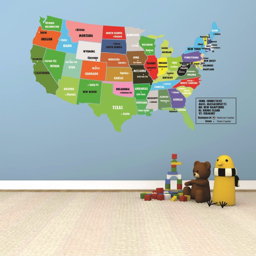 Wall Decal Sale : United States Of America World Map Classroom School Kids Teacher Students Colorful Learning Teaching Size: 16 Inches X 24 Inches