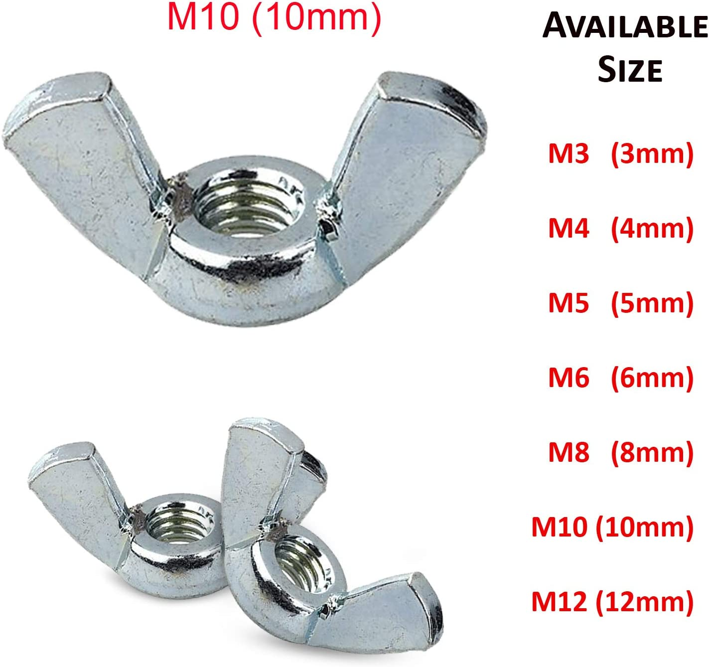 10 of Butterfly Wing Nuts 8Mm M8 Bzp Bright Zinc Plated Steel