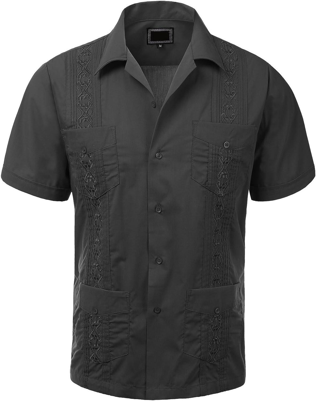Guytalk Mens Cuban Guayabera Button-down Short Sleeve Shirt