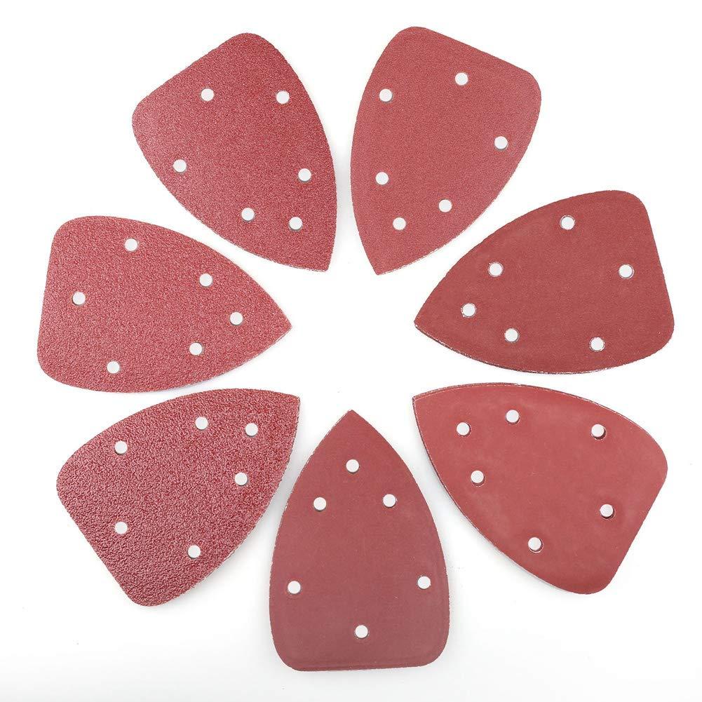 70PCS Mouse Detail Sander Sandpaper by LotFancy, Assorted 40 60 80 120 180 240 320 Grit Sanding Pads Sheets, 6 Holes, 140mm, Hook and Loop Backing