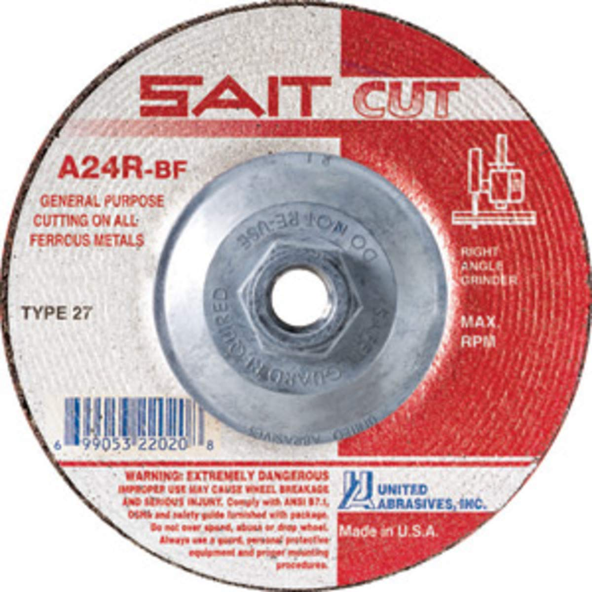 United Abrasives 4 1/2'' X 3/32'' X 5/8'' - 11 A24R 24 Grit Aluminum Oxide Type 27 Cut Off Wheel, Package Size: 10 Each by United Abrasives Inc.