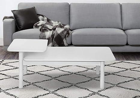 Tavolino Basso Da Salotto.Tavolino Basso Da Salotto In Legno Design Moderno Scandinavo Tavolino Da Divano Colore Bianco Tavolino Da Caffe Per Soggiorno 112 X 55 X 44 7