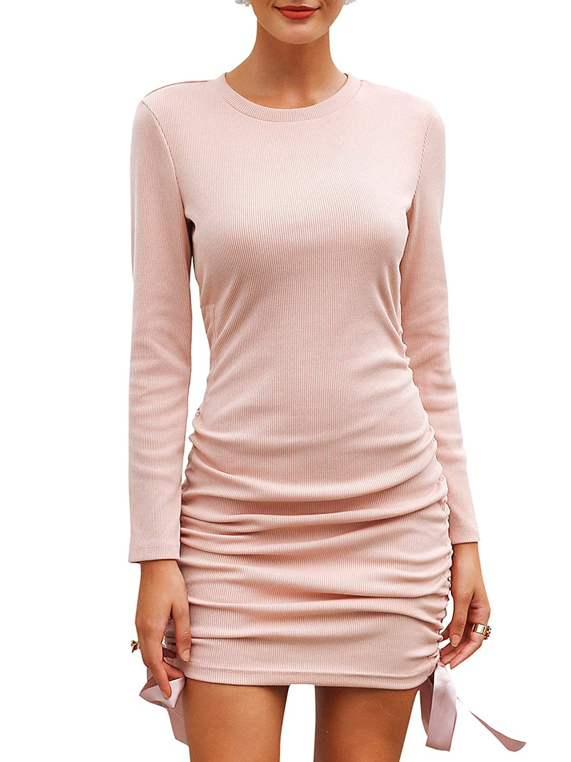 BerryGo Women's Ruched Round Neck Pullover Knit Bodycon Sweater Mini Dress GECL01040