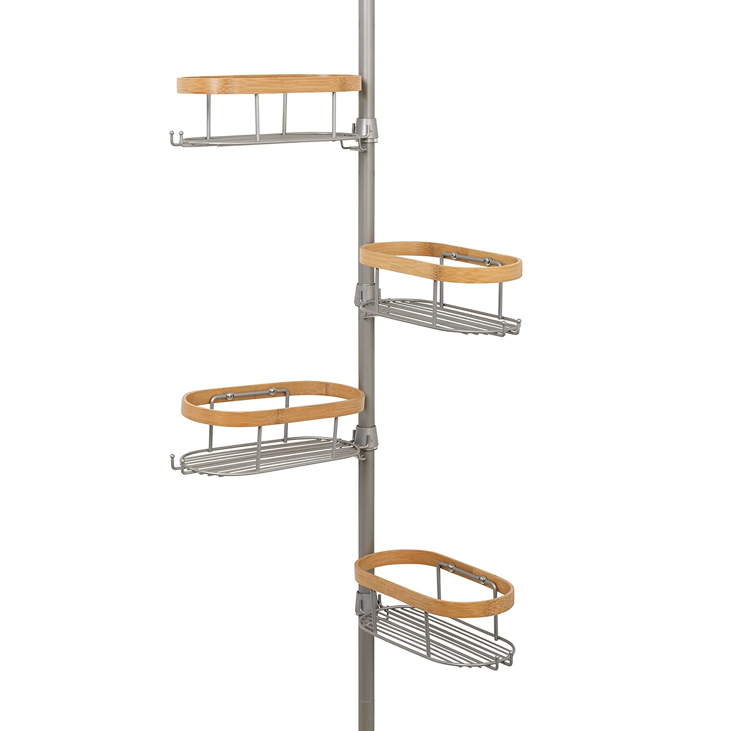 Zenna Home 2128BM Tension Corner Pole Caddy, Nickel and Bamboo Zenith Home Corp