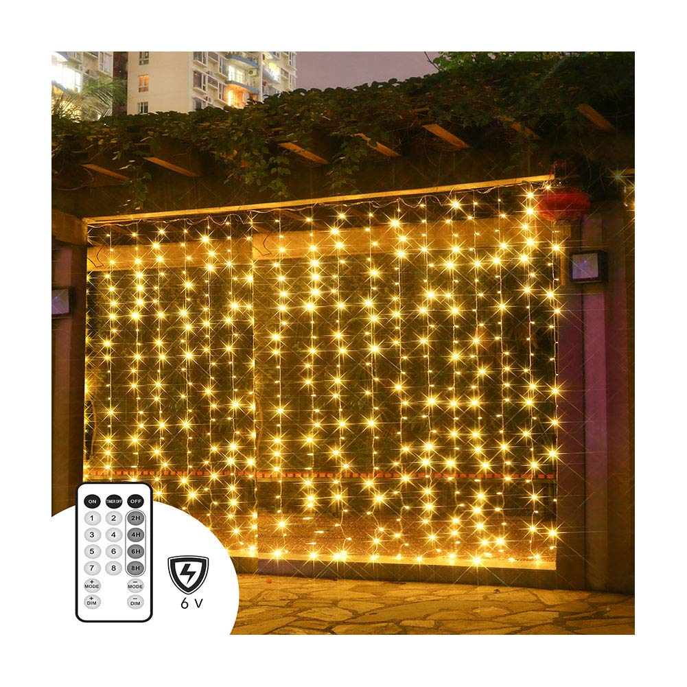 PopBabies Curtain Lights, Window Curtain Lights Bedroom, Parties, Wedding 300 LEDs, Full Waterproof Curtain White Lights Outdoor, Multiple Strands Connectable RF Remote Low Voltage UL588 Listed