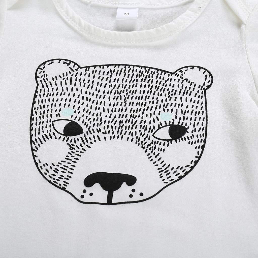 Suspenders Romper Outfits Onesies White Luonita Infant Baby Girls Boys Cartoon Print T-Shirt Tops Tee