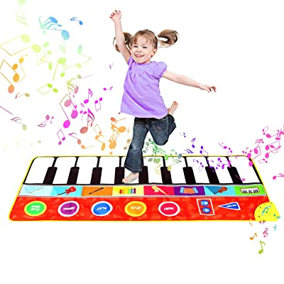 "M SANMERSEN Piano Mat, 57.4"" Musical Keyboard Play Mat with 8 Musical Instruments Sound, Colorful Dance Mat Funny Toy Gifts for 3-8 Girls Boys Kids: Toys & Games"