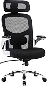 Big and Tall Office Chair 500lbs Wide Seat Executive Desk Chair with Lumbar Support Flip UP Arms Headrest High Back Computer Chair Ergonomic Mesh Chair for Heavy People, Black