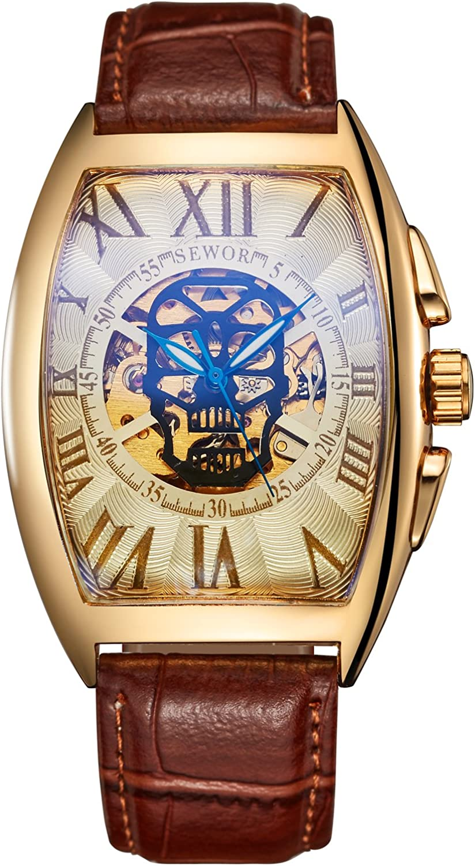 SEWOR Reloj de Pulsera mecánico automático, con Dibujo de Calavera, para Hombre, Correa de Piel, Revestimiento de Cristal Color Azul.