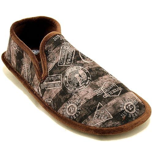 Cosdam 1480 - Zapatillas de Estar por Casa Hombre Invierno Biorelax con Dibujos Náuticos Marrones - Marrón Oscuro, 43: Amazon.es: Zapatos y complementos
