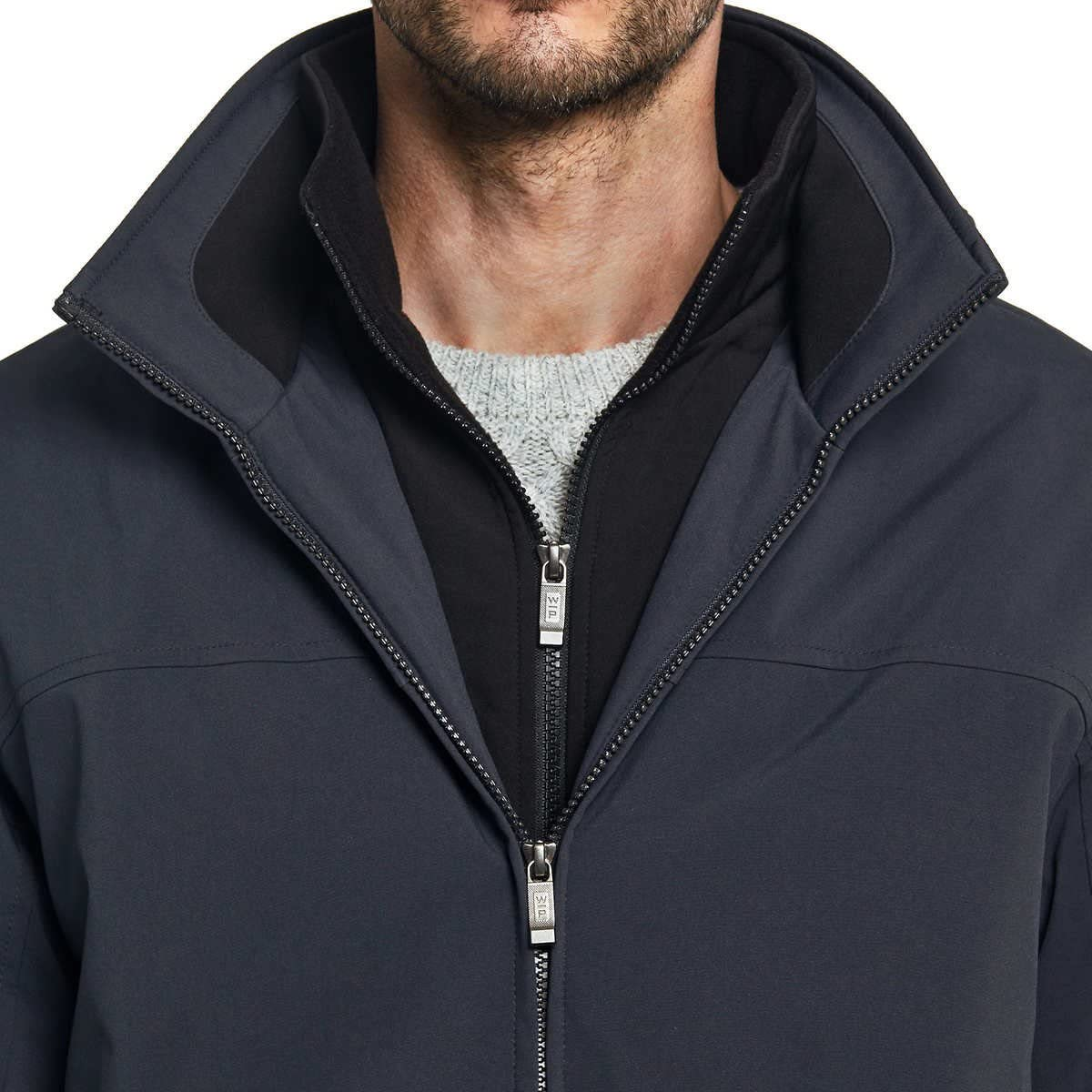 Weatherproof Ultra Tech Mens Jacket Double Zip Hooded Water Repellant Coat