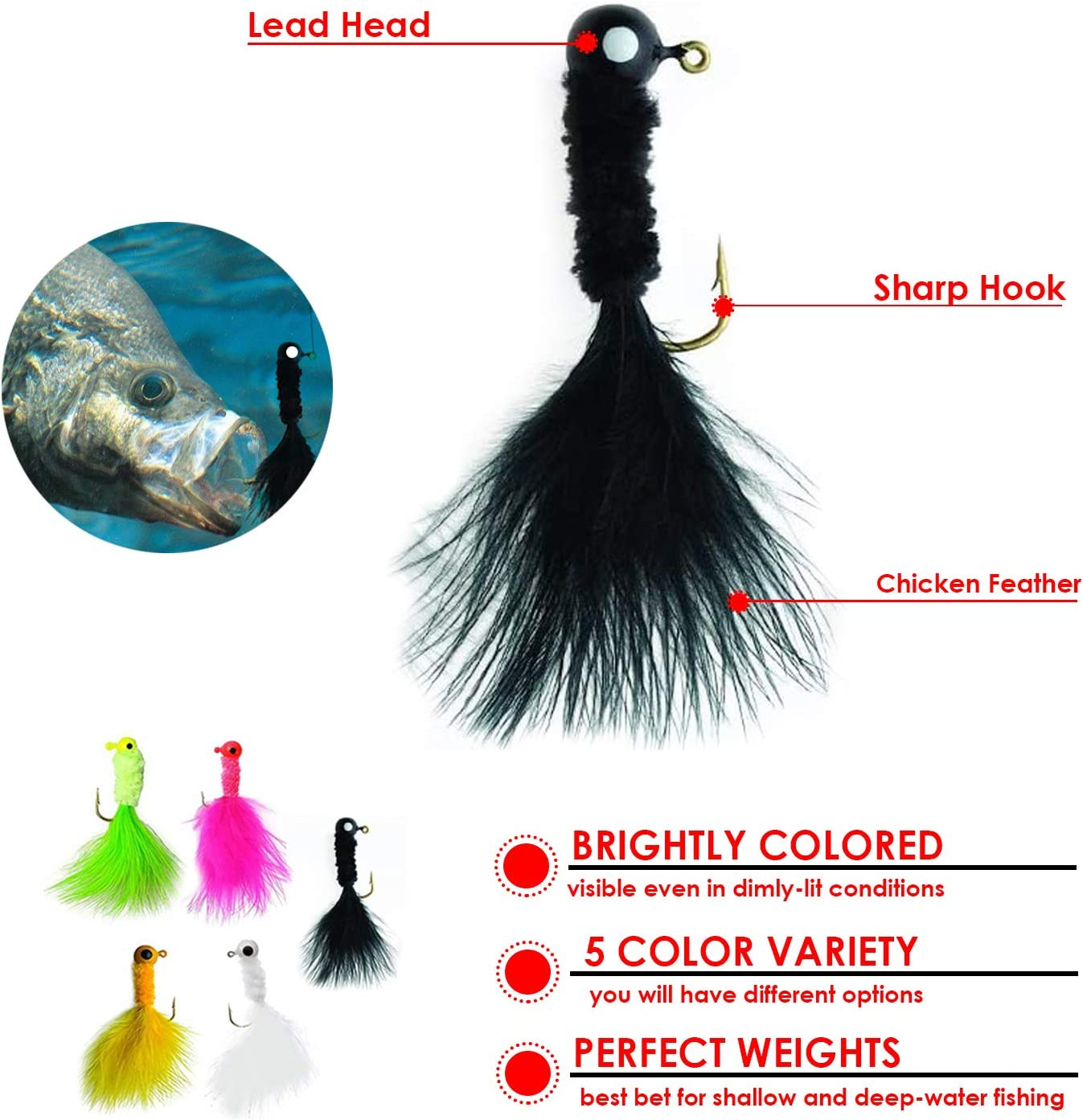 25 Piece Crappie jig Head Fishing Hook with Feather Fly Fishing ...